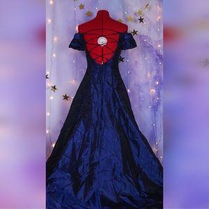 Dark blue organza floor length ball gown dress